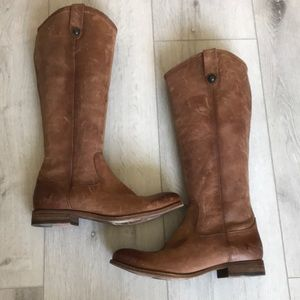 Frye Tall Riding Leather Brown Boots